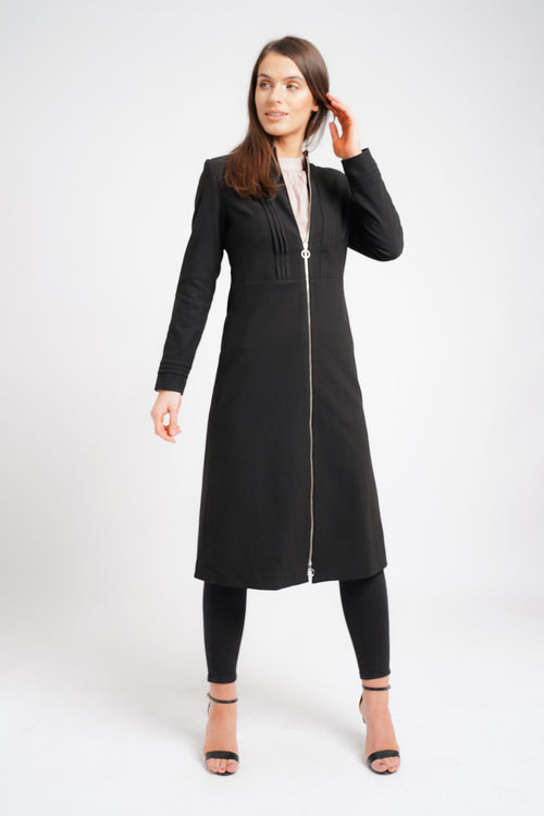 PLEATED MIDI COAT BLACK