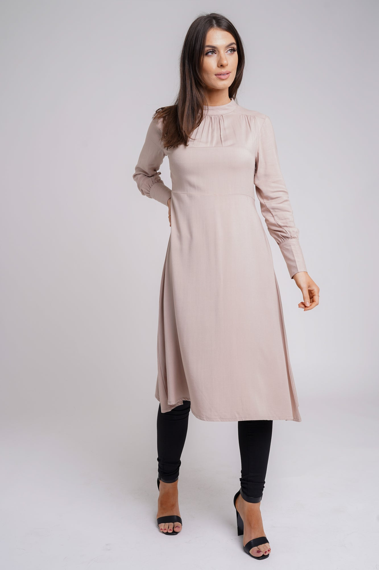 Pleated High Neck Midi Dress Oatmeal
