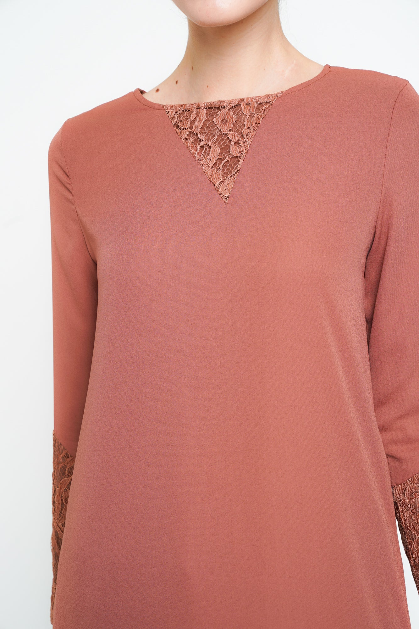 Blush Lace Sleeve Midi