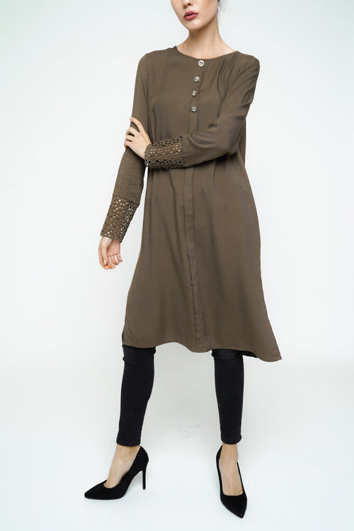 Vintage Button Midi - Khaki