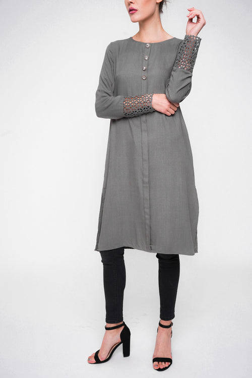 Vintage Button Midi-Grey
