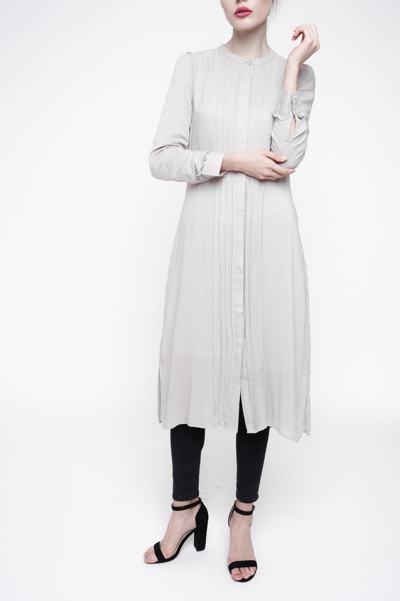 Iced Grey Pleated  Shirt Dress