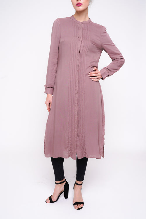 Mauve Pleated Shirt Dress