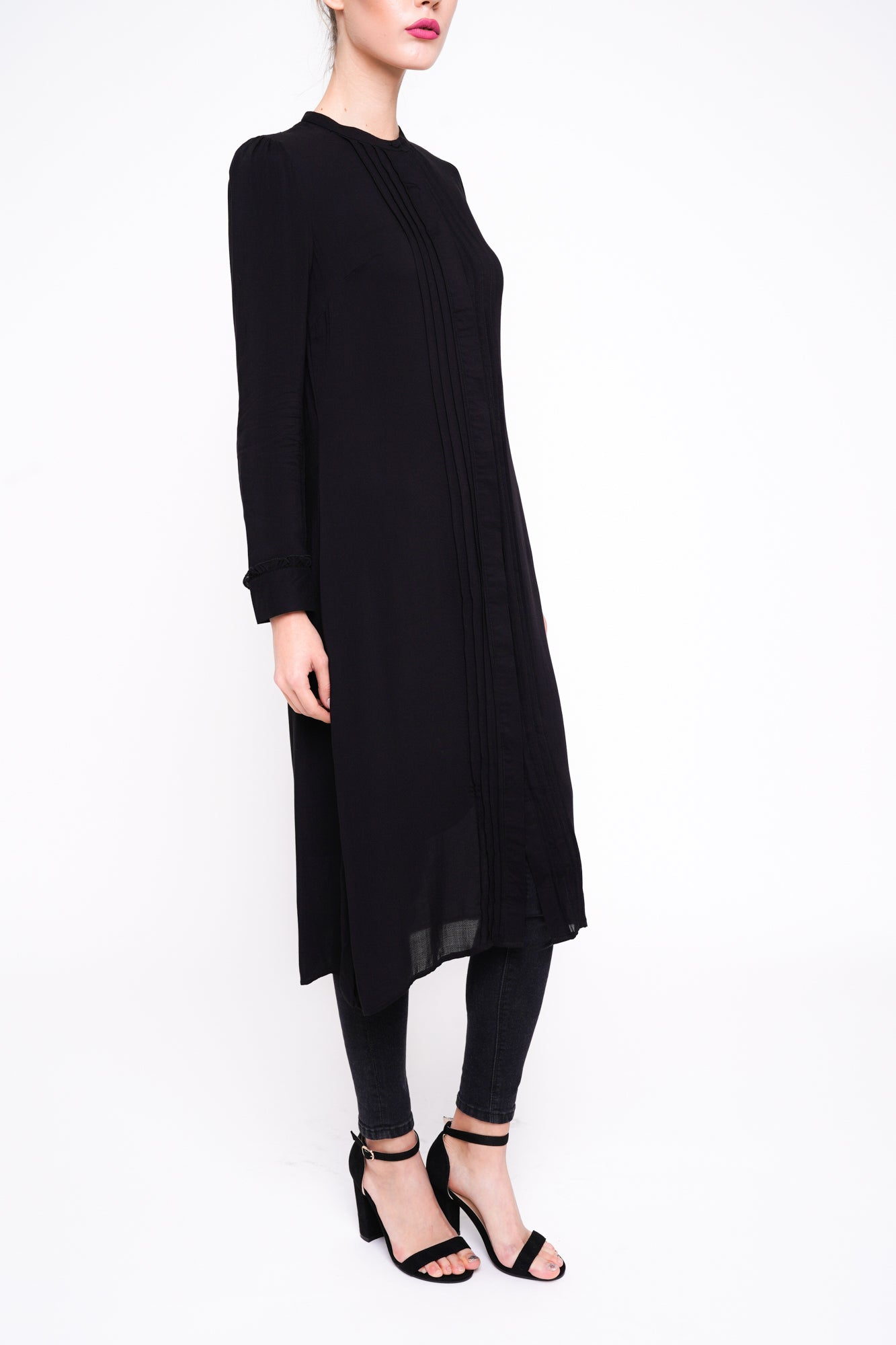 Pleated Shirt Dress- Black