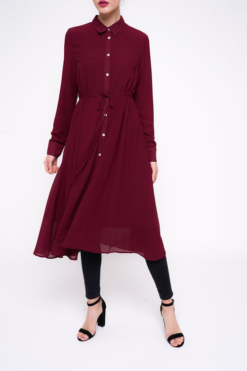 Drawstring Swing Shirt Dress Deep Red