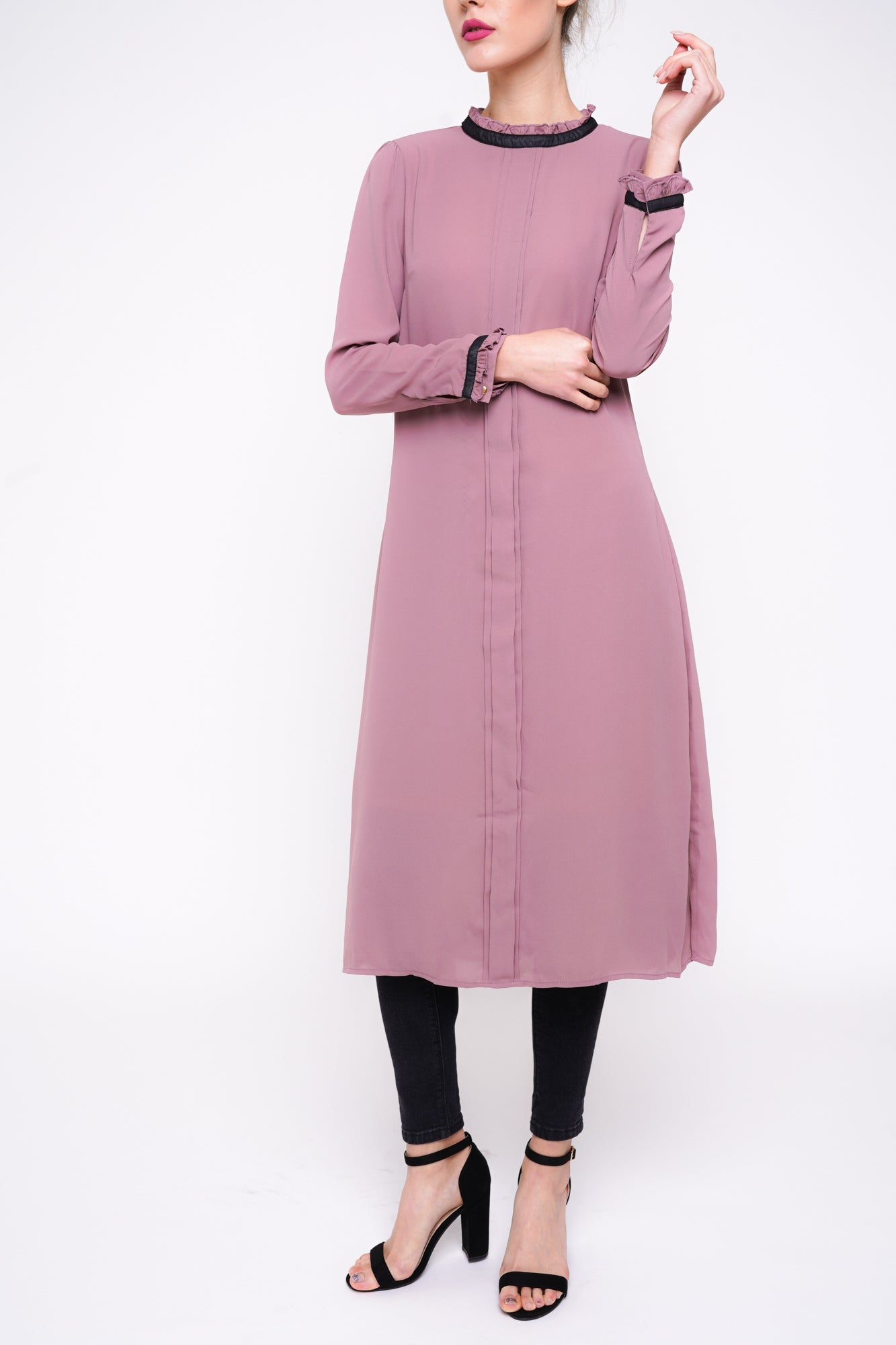 Box Pleat Midi Mauve