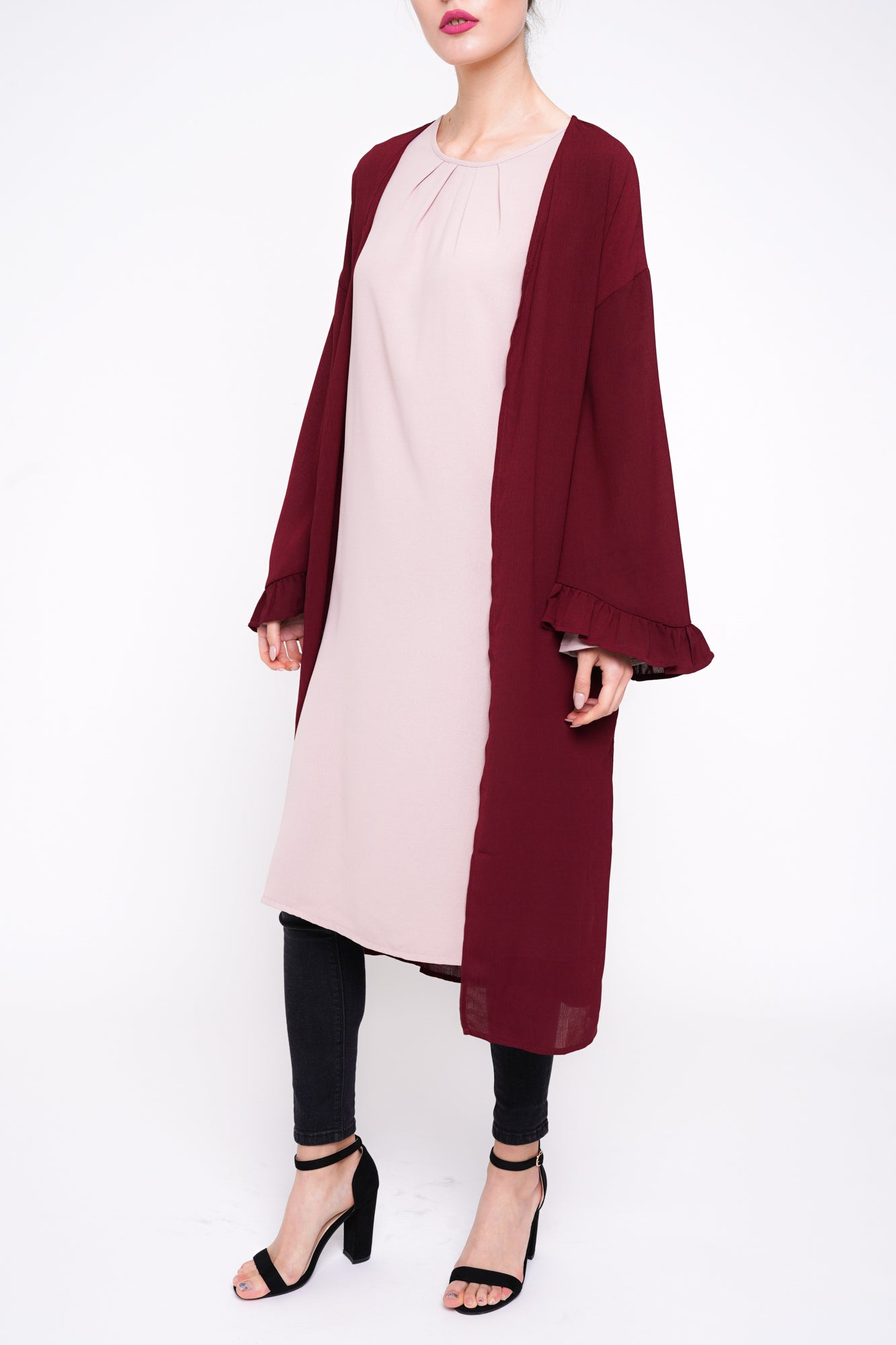 Bell Sleeve Cover Up Burgundy
