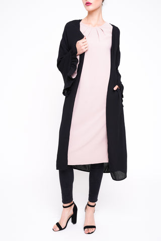 Drawstring Sleeve Midi Dress