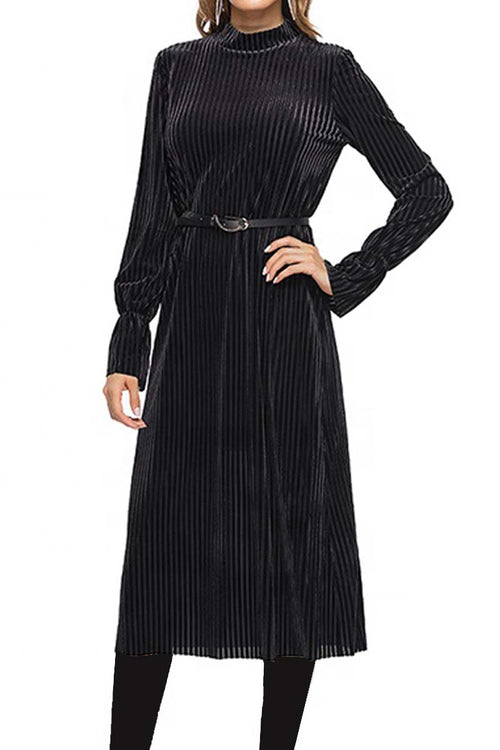 Velvet Stripe Midi Black