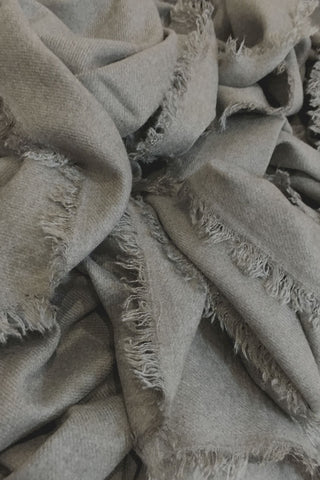 Earthy grey block blanket scarf