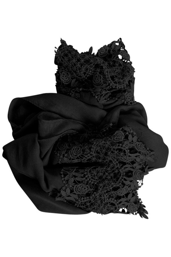 Black Crochet Lace Hijab
