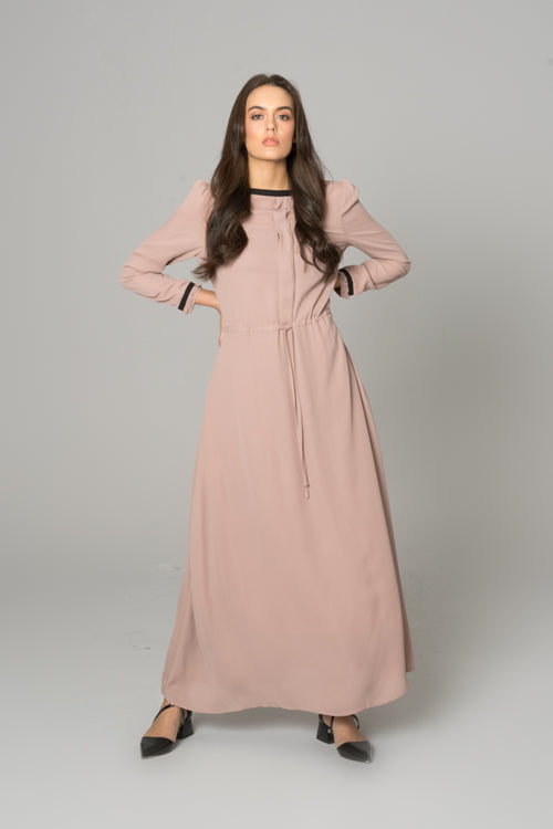 Box Pleat Maxi Dress Nude