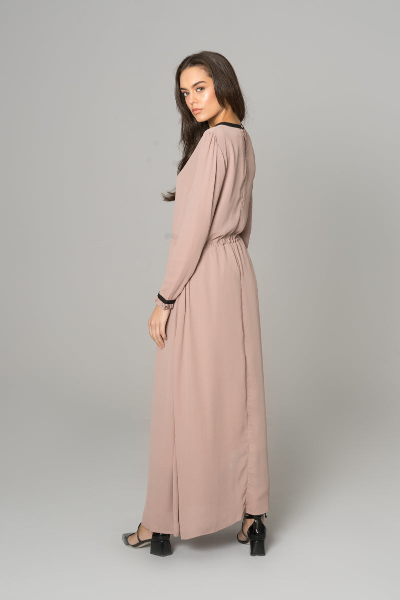 Box Pleat Maxi Abaya Dress Nude