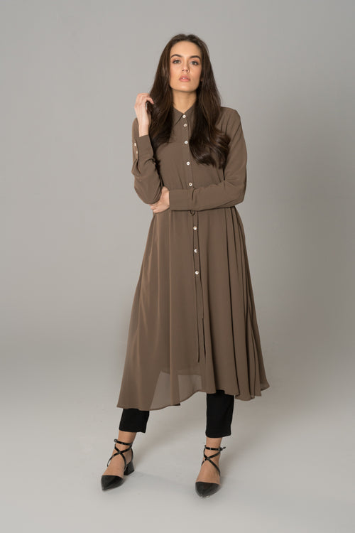 Drawstring Swing Shirt Dress