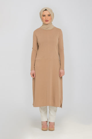 Half ribbed drawstring jumper dress Beige