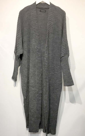 Longline Knit Cardigan with Pockets Black