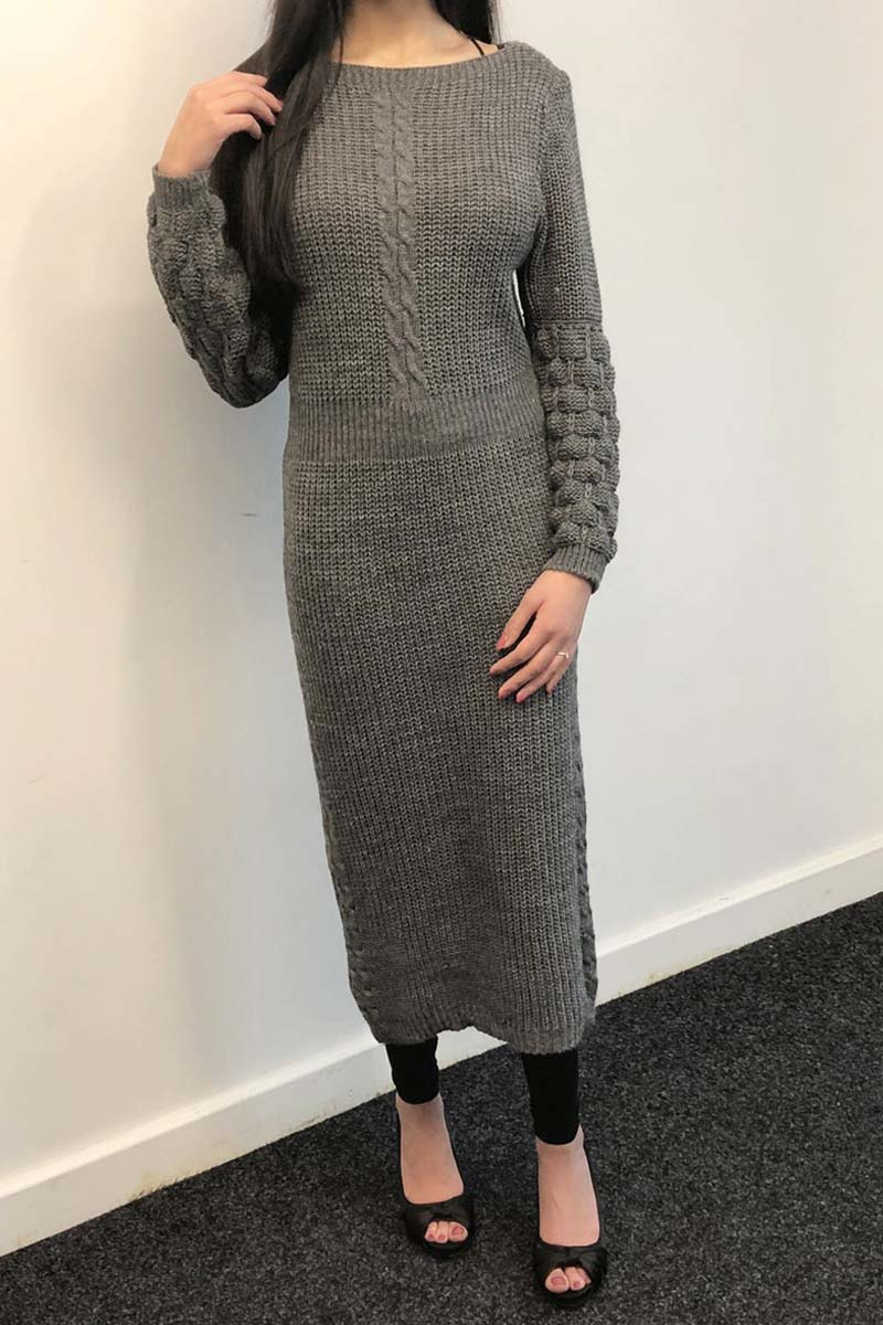 Bobble Sleeve knit midi dress