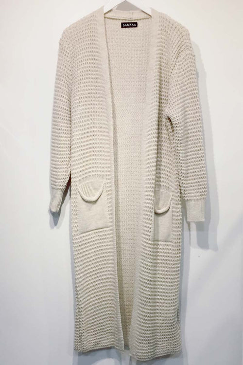 Longline Knit Cardigan With Pockets Oatmeal