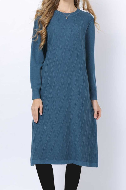 Criss Cross Detail Jumper Midi Blue