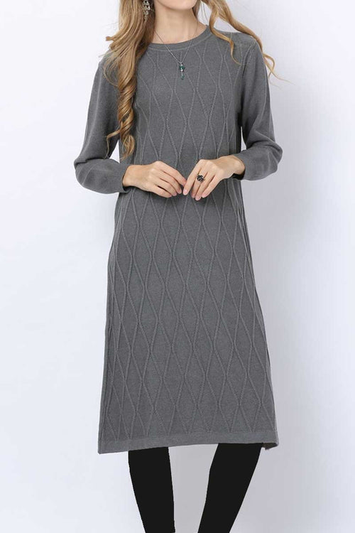 Criss Cross Detail Jumper Midi Grey