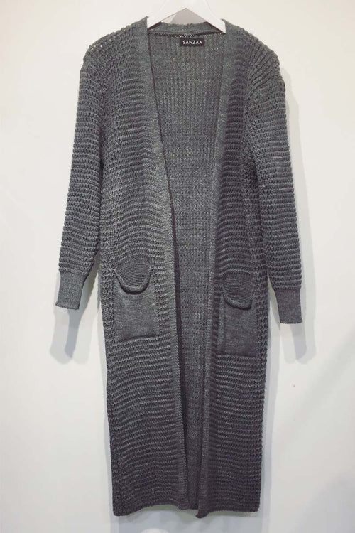 Longline Knit Cardigan With Pockets Grey