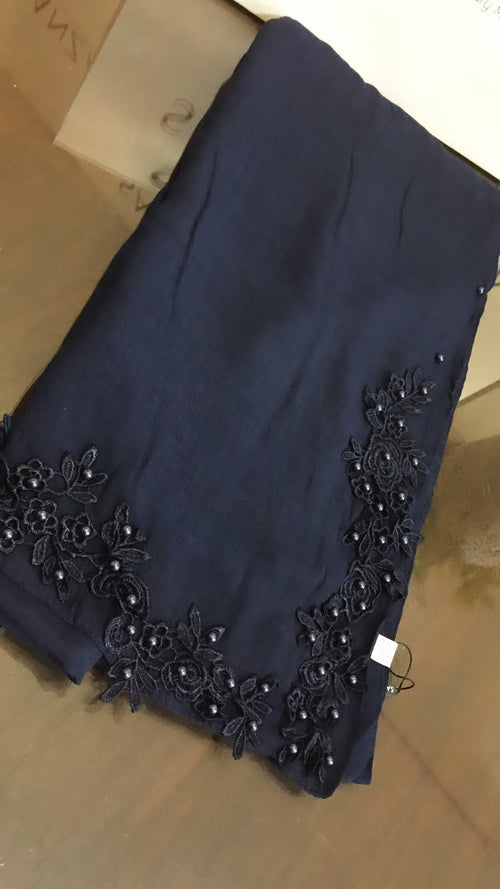 Floral Lace and pearl Hijab - Navy