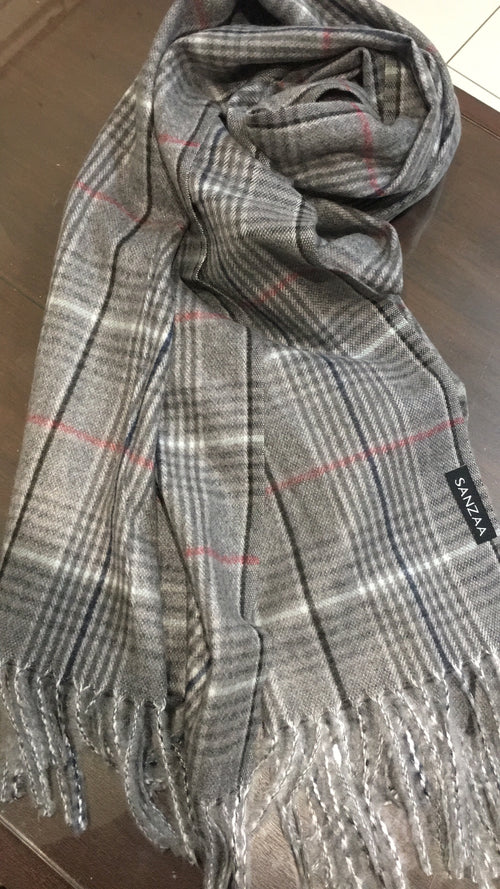 Checked blanket shawl -Grey