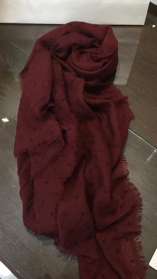 Burgundy Hijab with textured dot detail