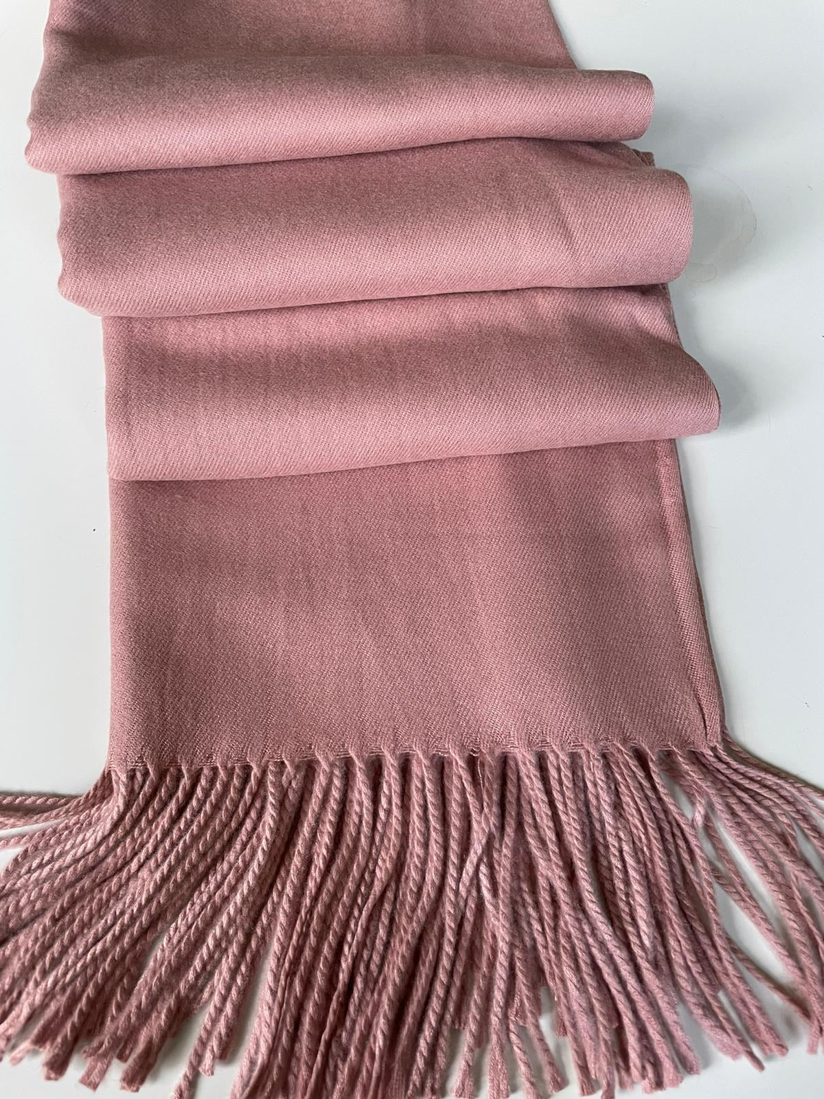 Dusky Pink Plain Blanket Shawl with Tassels