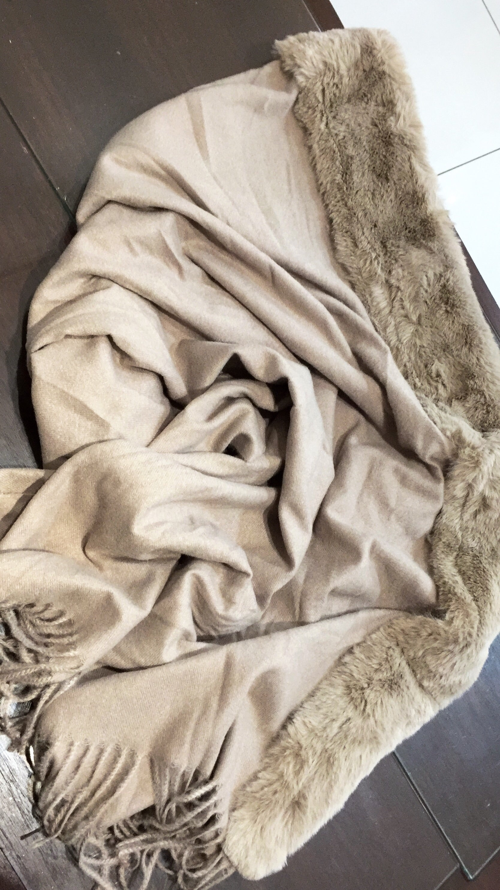 Fur edge blanket shawl- stone