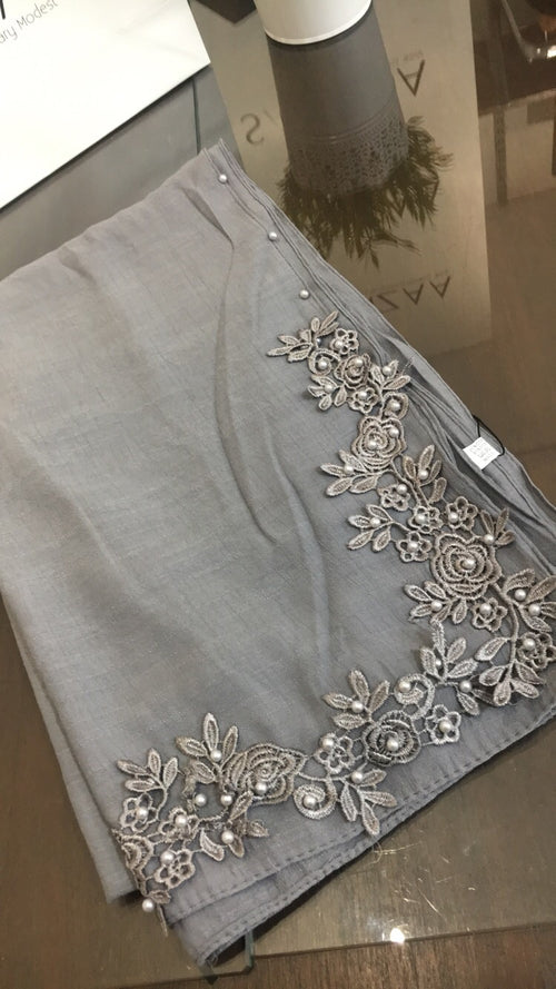 Floral corner Lace and Pearl Hijab- soft grey
