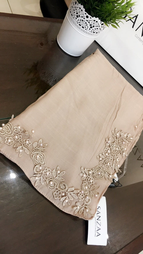 Floral Corner Lace and Pearl - Dusky Almond with hint of pink