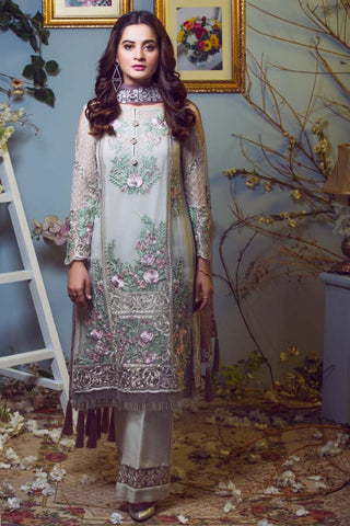 Ivory embroidered suit