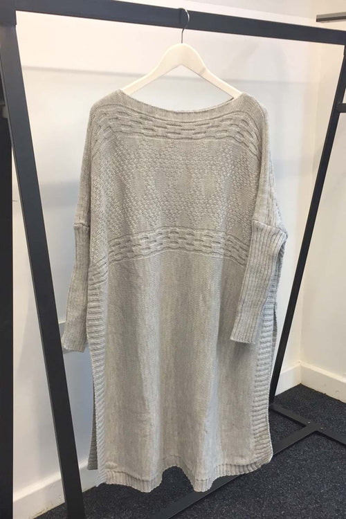 KNIT PONCHO LIGHT GREY