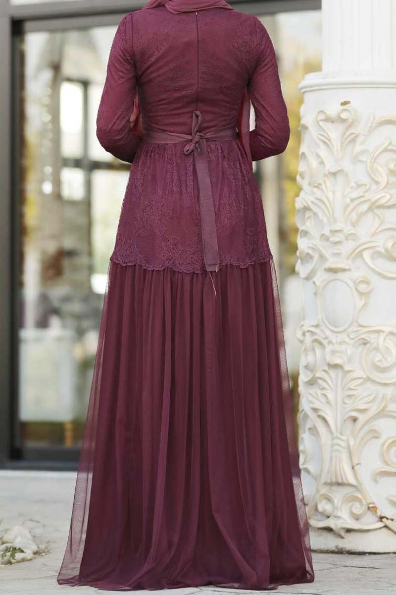 Lace and Net Occassion Dress Plum