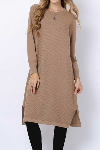 Pleated High Neck Midi Dress Toffee