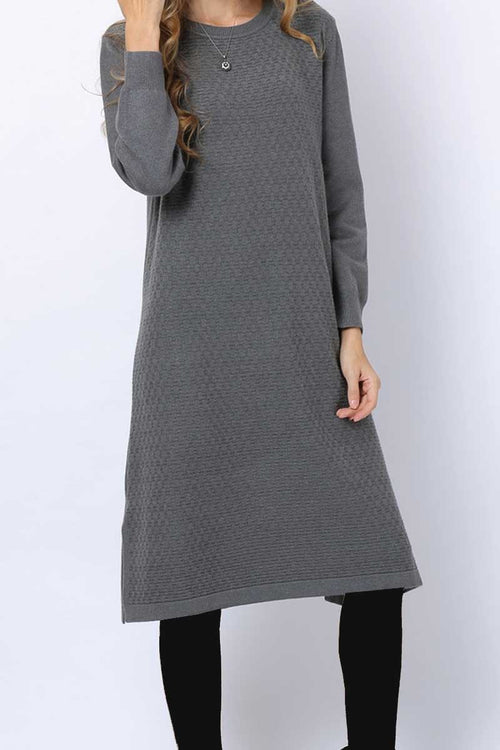 Mesh effect Jumper Midi Grey