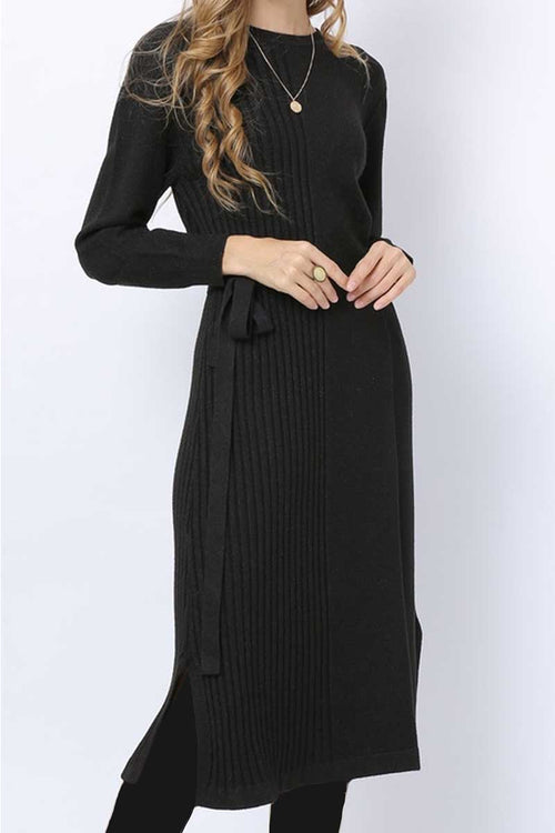 Half Ribbed Drawstring Jumper Dress