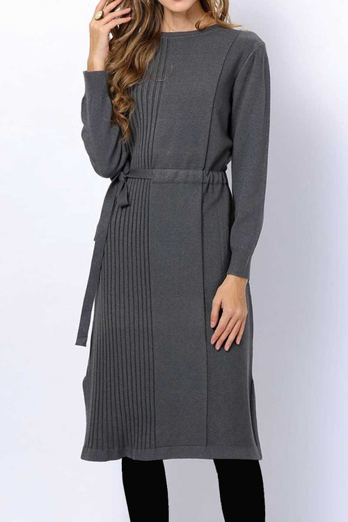 Half ribbed drawstring jumper dress grey