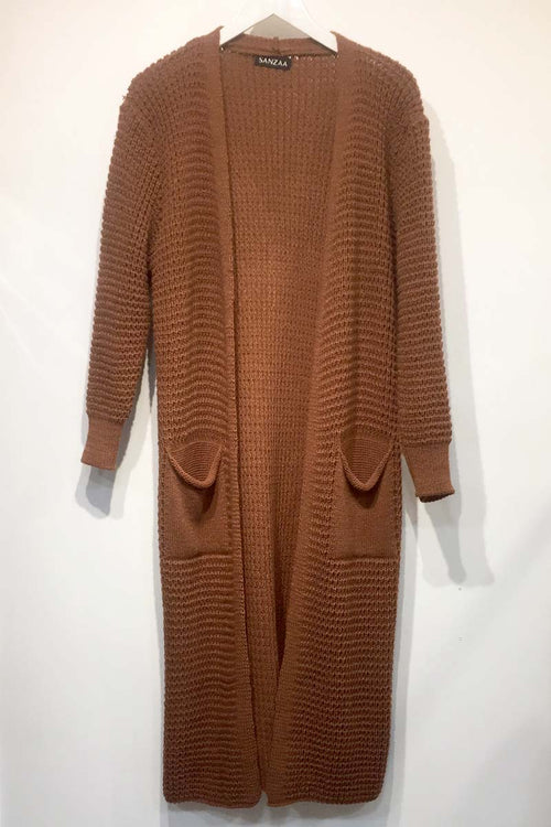 Longline Knit Cardigan With Pockets Rust