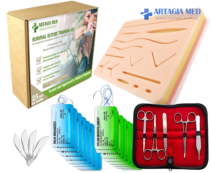 Survival Suture Practice Kit - Complete Suture Practice Kit for Suture Training, including Large Silicone Suture Pad with pre-cut wounds and suture tool kit (25 pieces). Suture Knots and Techniques Instructions included.