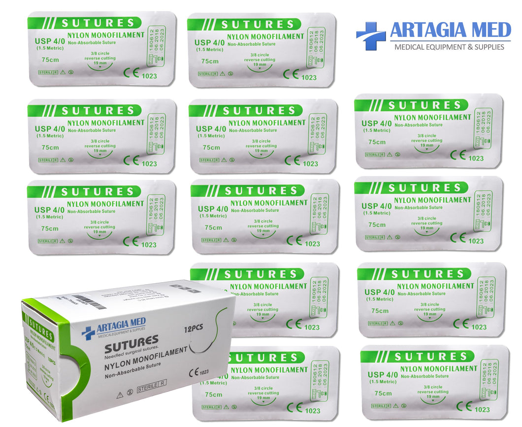 Pkg. Of 12 Sutures Thread with Needle -First Aid Field Emergency Practice and Training – For Practicing Suturing Doctors, Medical Students, Veterinarians and Nurses (Education and Demonstration only)