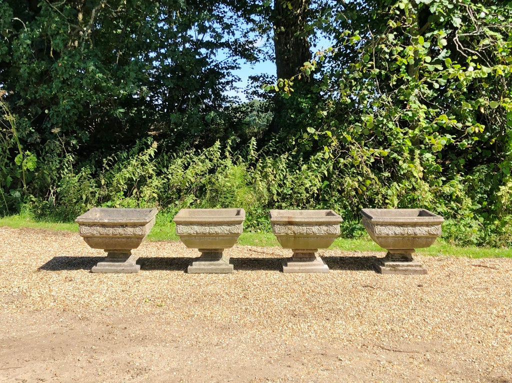 Beautiful and Sophisticated Pair of Cast Stone Square Rose Urns