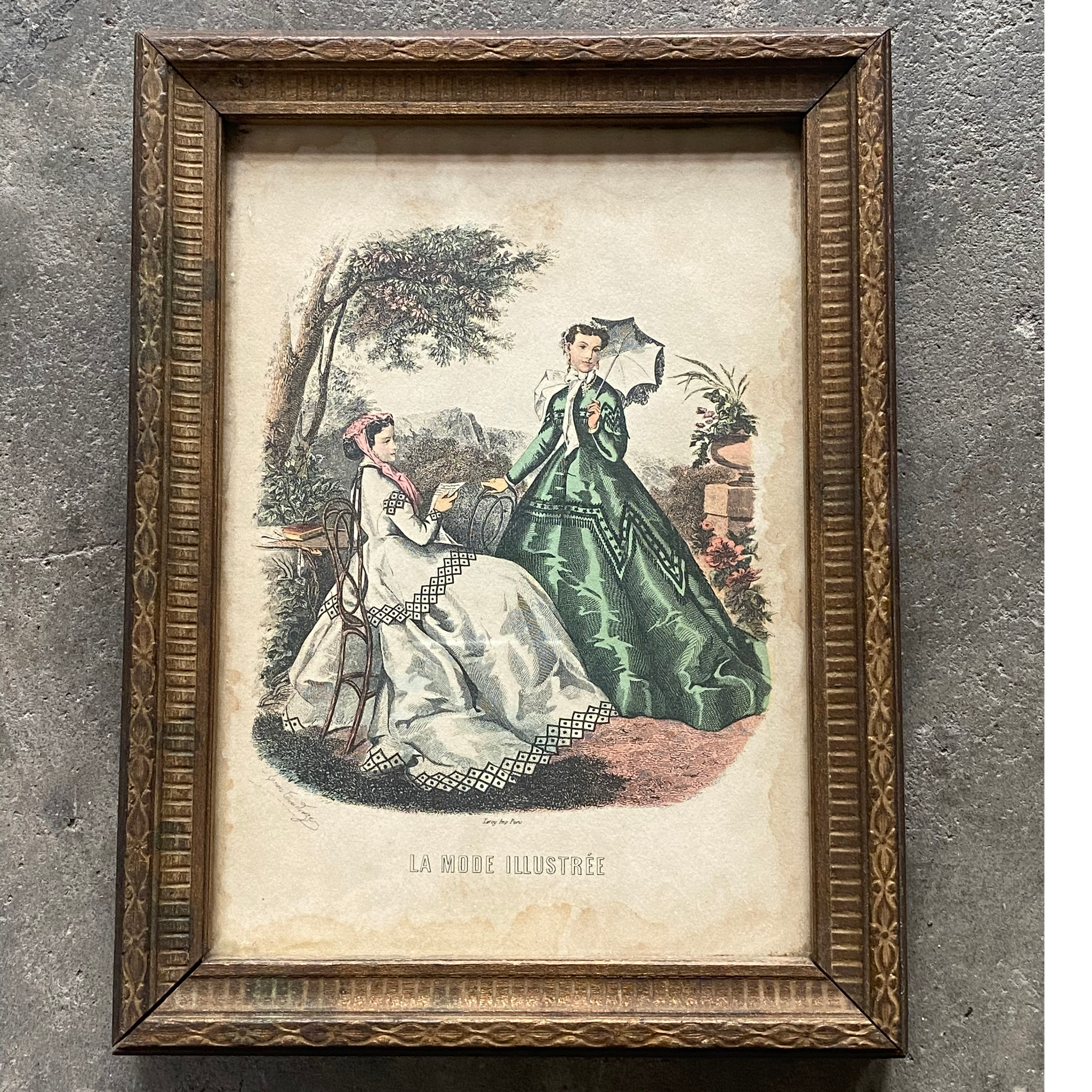 Framed Antique Victorian Fashion Print