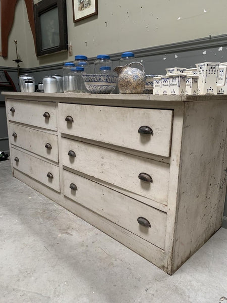19th-century Store Counter in great old white finish with 6 large functioning drawers and finished back