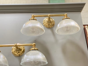 Brass and Holophane Sconces from a historic  NYC Hotel (4 available)