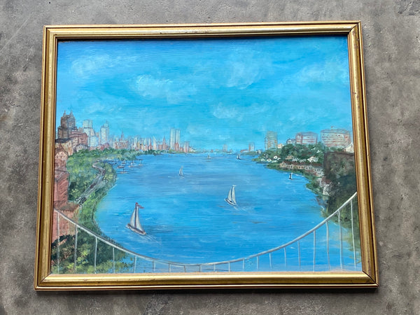 Vintage Oil on Board of the George Washington Bridge in NYC in Great Simple Gold Frame