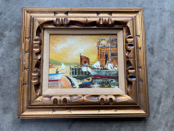 Antique Oil on Canvas Depicting Harbor Scene in Fabulous Carved Frame