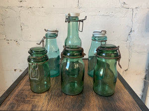 Set of 6 Antique French Handblown Mason Jars c. 1880