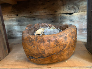 Antique Hand-carved Burl Wooden Bowl